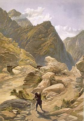 Raj Drawing - Bridge Over The Sutlej At Wangtoo by William 'Crimea' Simpson