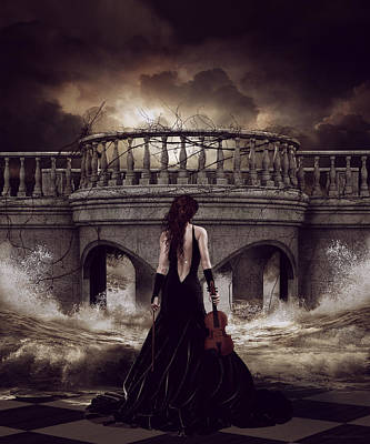 Violin Digital Art - Bridge Over Troubled Waters by Shanina Conway
