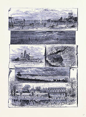 Stratford Drawing - Bridge Port Stratford And Milford United States Of America by American School