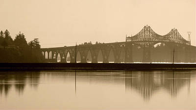 Print featuring the photograph Bridge Reflection In Sepia by Katie Wing Vigil