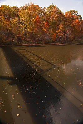 Photograph - Bridge Shadow In Autumn On The  Duck River Tennessee Fine Art Prints As Gift For The Holidays  by Jerry Cowart
