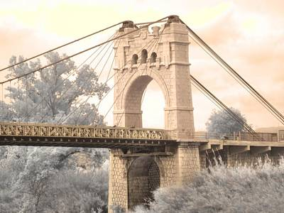 Infared Photograph - Amposta Suspension Bridge by Jane Linders