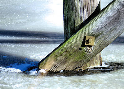 Photograph - Bridge Support In Frozen Pond by Janice Drew