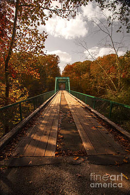 Photograph - Wooden Bridge Adventure To Autumn Red Orange Yellow Leaves  by Jerry Cowart