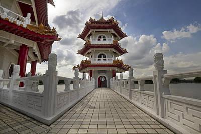 Bridge To Pagoda At Chinese Garden Art Print by David Gn
