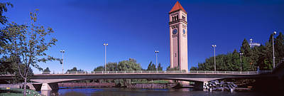 Spokane River Photograph - Bridge With Clock Tower by Panoramic Images