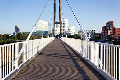 Frank Gehry Photograph - Bridge With Neuer Zollhof Buildings by Panoramic Images