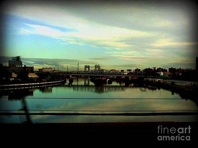Art Print featuring the photograph Bridge With White Clouds by Miriam Danar