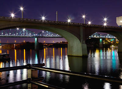 Photograph - Bridges At Night by Melinda Fawver