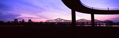 Jefferson Photograph - Bridges In A City At Dusk, Louisville by Panoramic Images