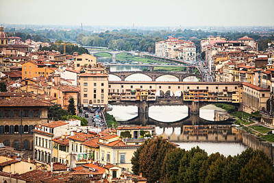 Bridges Of Florence Art Print by Susan Schmitz