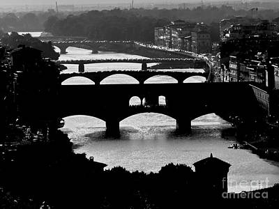 Photograph - Bridges On The Arno In Florence by Jacqueline M Lewis