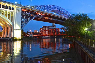 After Midnight Photograph - Bridges Over The Cuyahoga by Frozen in Time Fine Art Photography