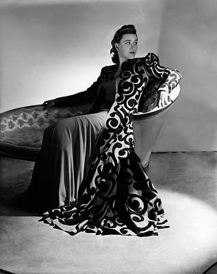 Bridget Bate Tichenor Sitting On A Chaise Lounge Art Print by Horst P. Horst