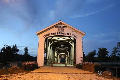 Bridgeton Covered Bridge At Twilight Art Print
