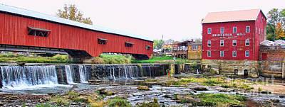 Bridgeton Mill And Covered Bridge Art Print by Jack Schultz
