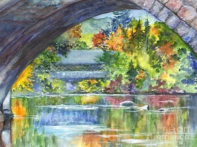 Covered Bridge Mixed Media - A Covered Bridge In Autumn's Splendor by Carol Wisniewski