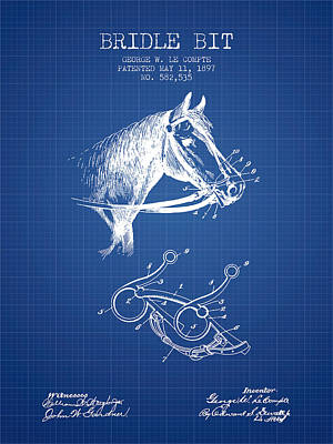Western Bridle Drawing - Bridle Bit Patent From 1897 - Blueprint by Aged Pixel