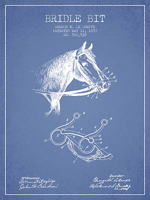 Western Bridle Drawing - Bridle Bit Patent From 1897 - Light Blue by Aged Pixel