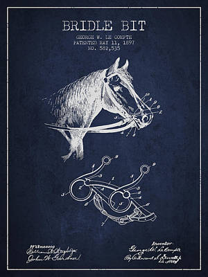 Bridle Drawing - Bridle Bit Patent From 1897 - Navy Blue by Aged Pixel