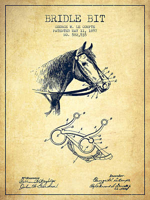 Western Bridle Drawing - Bridle Bit Patent From 1897 - Vintage by Aged Pixel