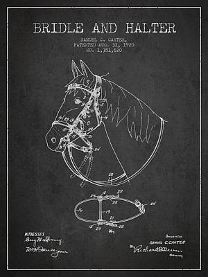 Western Bridle Drawing - Bridle Halter Patent From 1920 - Charcoal by Aged Pixel