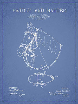Western Bridle Drawing - Bridle Halter Patent From 1920 - Light Blue by Aged Pixel