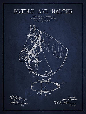 Western Bridle Drawing - Bridle Halter Patent From 1920 - Navy Blue by Aged Pixel