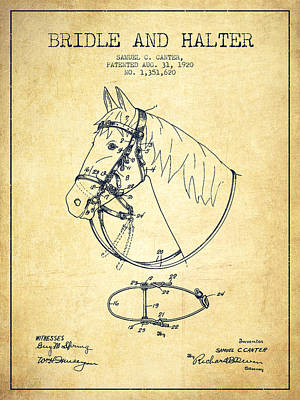 Western Bridle Drawing - Bridle Halter Patent From 1920 - Vintage by Aged Pixel