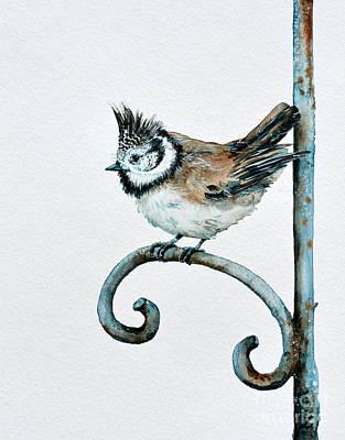 Painting - Bridled Titmouse by Zaira Dzhaubaeva