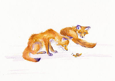 Fox Cubs Painting - Brief-ish Encounter by Debra Hall
