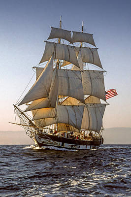 Photograph - Brig Pilgrim Off Santa Barbara by Cliff Wassmann