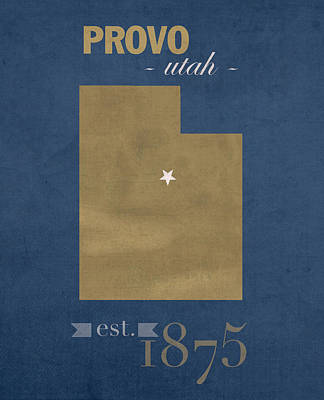 Brigham Young University Cougars Provo Utah College Town State Map Poster Series No 023 Art Print by Design Turnpike