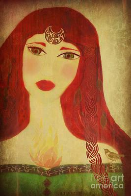 Brighid Celtic Goddess Folk Art Print by Sacred  Muse