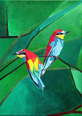 Painting - Brighly Colored European Bee-eaters by Tracey Harrington-Simpson