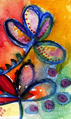 Wet Painting - Bright Abstract Flowers by Linda Woods