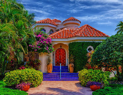 Entrance Door Photograph - Bright And Beautiful - Florida by Frank J Benz