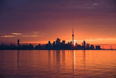 Photograph - Bright And Orange Toronto Sunrise by Georgia Mizuleva