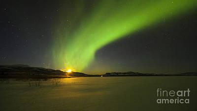 Photograph - Bright Aurora Borealis Over Lake by Philip Hart