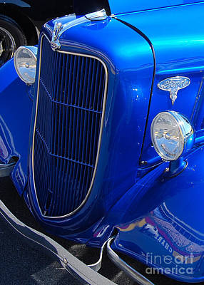 Vintage Auto Photograph - Bright Blue Ford Closeup by Mark Spearman