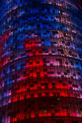 Photograph - Bright Blue Red And Pink Illumination - Agbar Tower Barcelona by Georgia Mizuleva