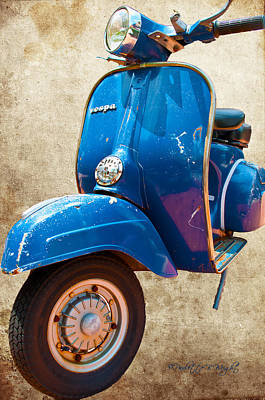 Photograph - Bright Blue Vespa by Paulette B Wright