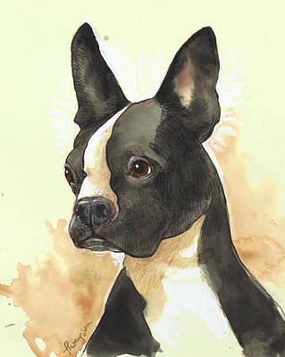 Boston Painting - Bright Boston Terrier by Tracie Thompson