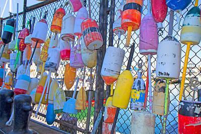 Vibrant Color Photograph - Bright Buoys by Betsy Knapp