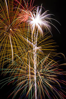 Bright Bursts Of Fireworks Art Print by Garry Gay