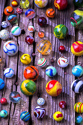 Bright Colorful Marbles Print by Garry Gay