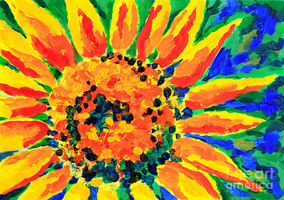 Bright Colorful Single Sunflower Acrylic Painting Art Print by Beverly Claire Kaiya