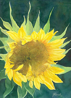 Painting - Bright Colorful Sunflower Watercolor by Elizabeth Sawyer