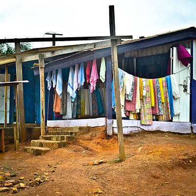 Photograph - Bright Curtains And Towels, Ghana  by Ronda Broatch