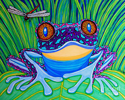 Lilies Royalty Free Images - Bright Eyed Frog Royalty-Free Image by Nick Gustafson